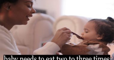 At 6 to 8 months of age, the baby needs to eat two to three times